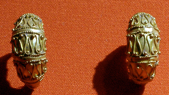 Pair of boat-shaped earrings with filigree and granule decoration