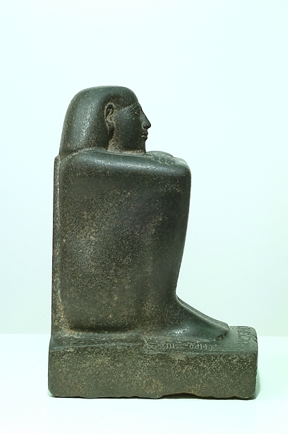 Block Statue of a Prophet of Montu and Scribe Djedkhonsuefankh, son of Khonsumes and Taat