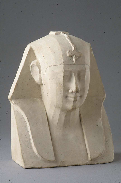 Bust of a royal figure with downward-hanging snake