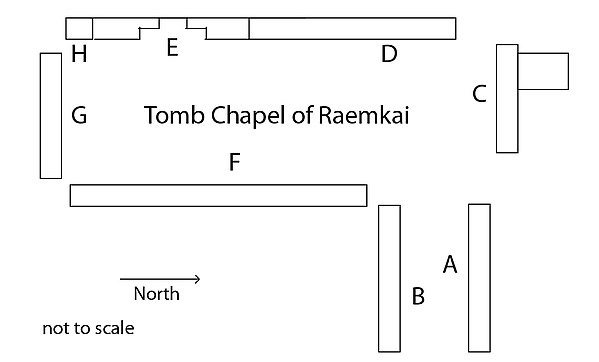 Tomb chapel of Raemkai: North wall of the entrance corridor