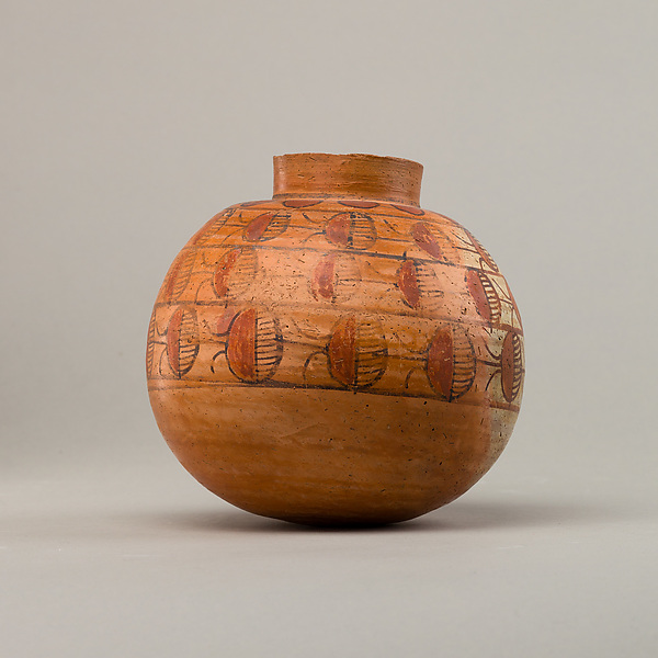 Spherical jar with four rows of painted decoration