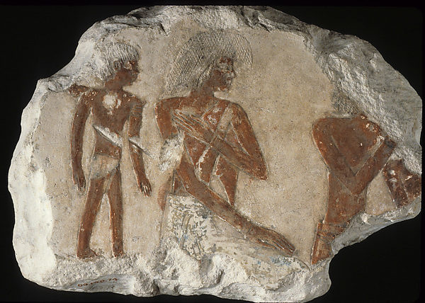 Fragments depicting a group of foreigners including a child