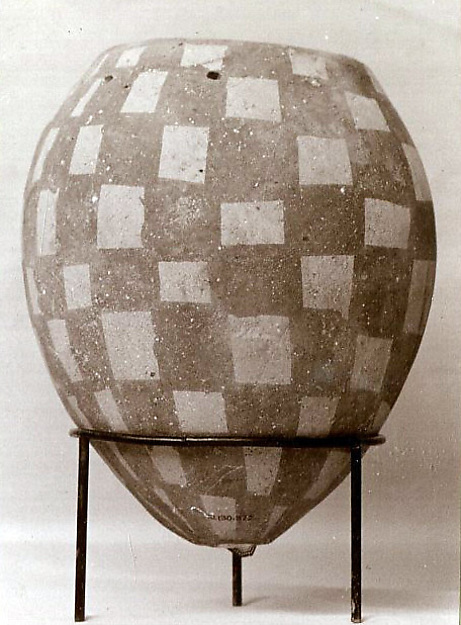 Jar decorated with checkerboard pattern