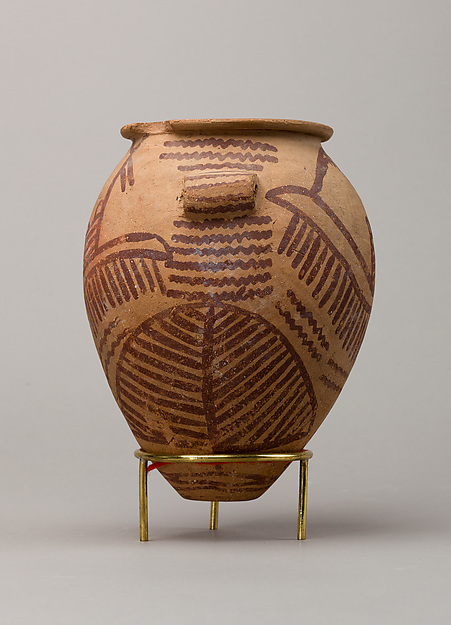 Decorated ware jar depicting two boats