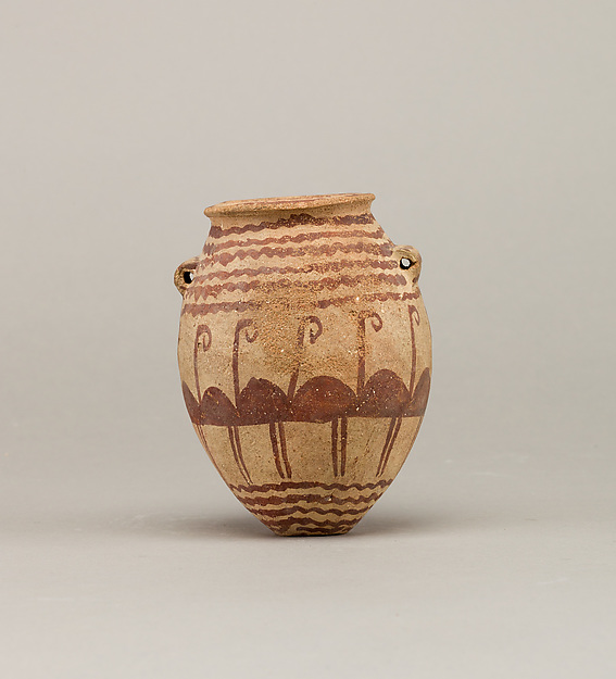 Decorated ware jar depicting water and flamingos