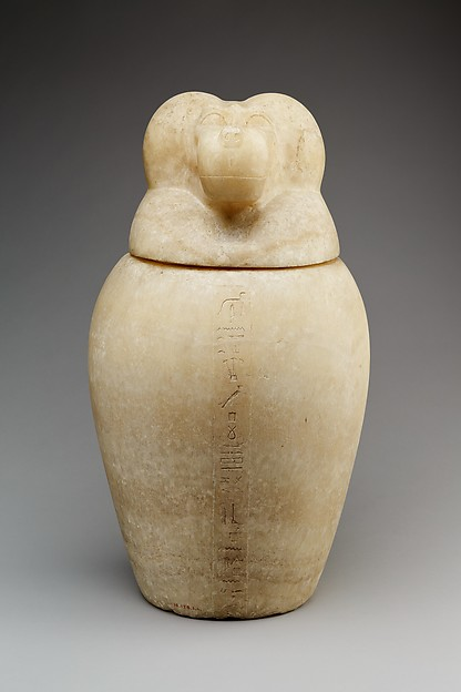 Canopic jar with a baboon-headed lid (Hapy)