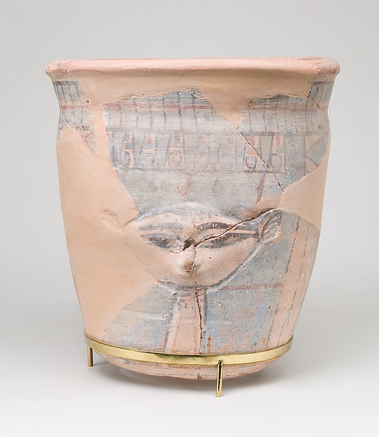Upper sectoin of a blue-painted Hathor Jar from Malqata