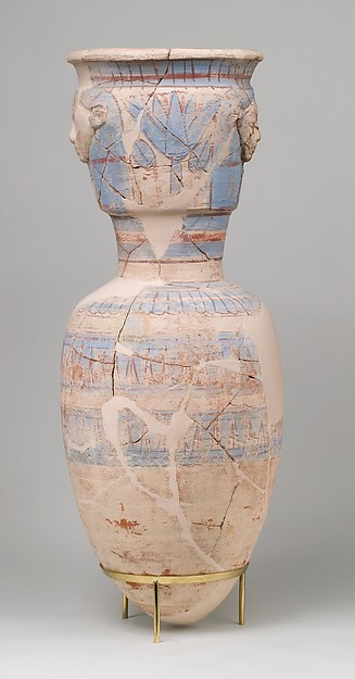 Blue-Painted Storage Jar Embossed with the Hathor Emblem