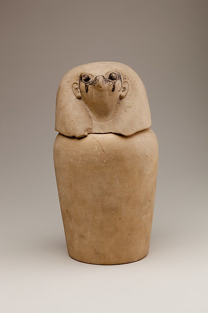 Canopic Jar Representing the Deity Qebehsenuef