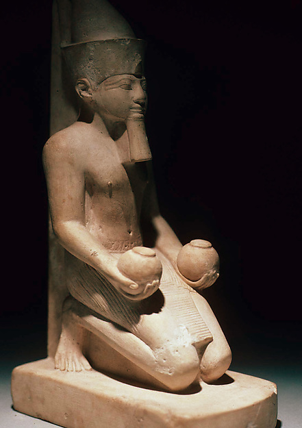 Amenhotep II in the Double Crown, Kneeling and Offering