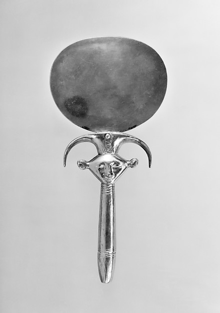Mirror with Handle in the Form of a Hathor Emblem