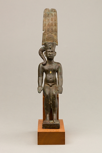 Child god with the Amonian crown named Horus of Mednit (Aphroditopolis)