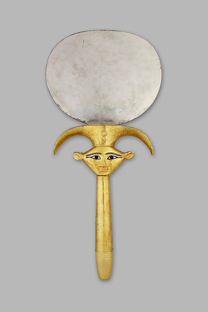 Mirror with Hathor Emblem Handle