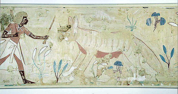 Man Confronting a Wild Dog, Tomb of Amenemhab