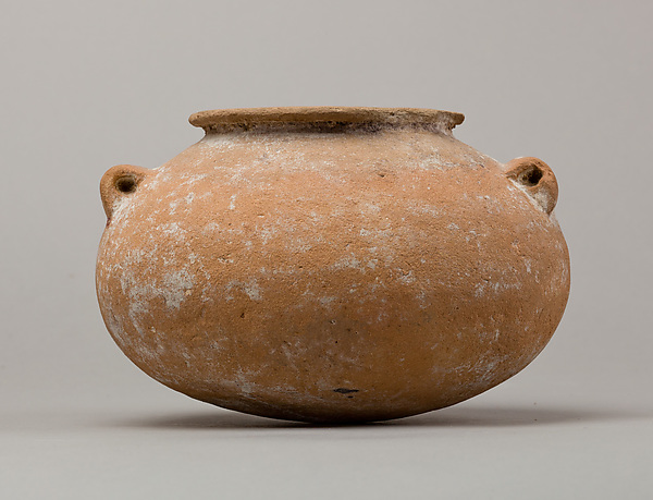 Marl ware jar with lug handles