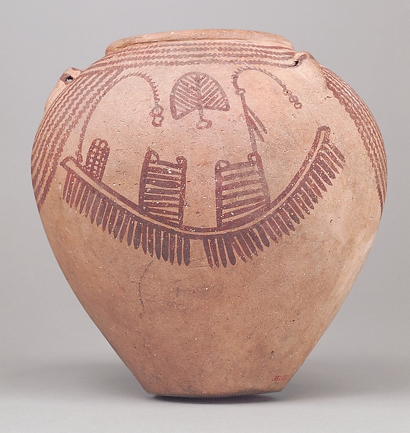 Decorated ware jar depicting boats