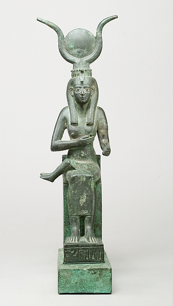 Statuette of Isis nursing Horus (missing above the legs), inscribed for Hor son of Padihorresnet