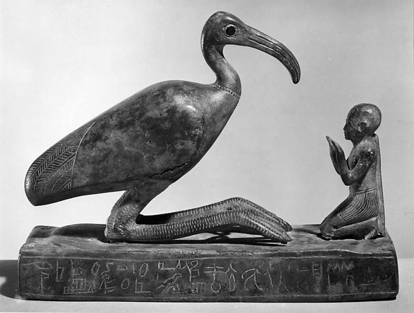 Group statue of Thoth-ibis and devotee on a base inscribed for Padihorsiese