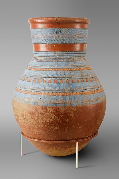 Blue-painted Storage jar