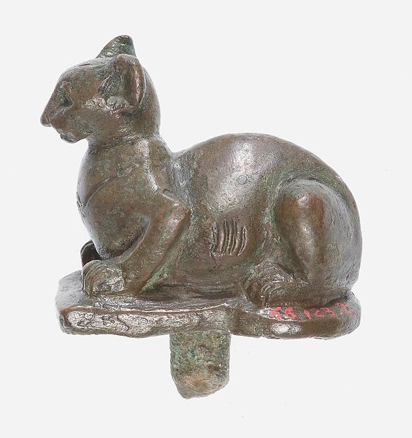Crouching Cat Figurine