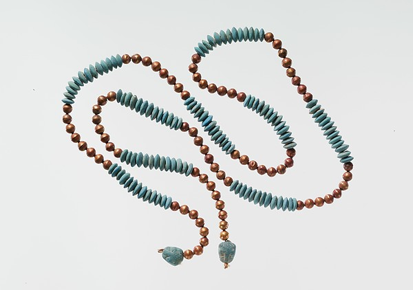 String of Beads with Feline-head Amulets