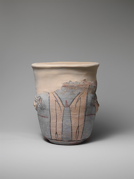 Blue-painted, Wide-mouthed, Hathor Jar