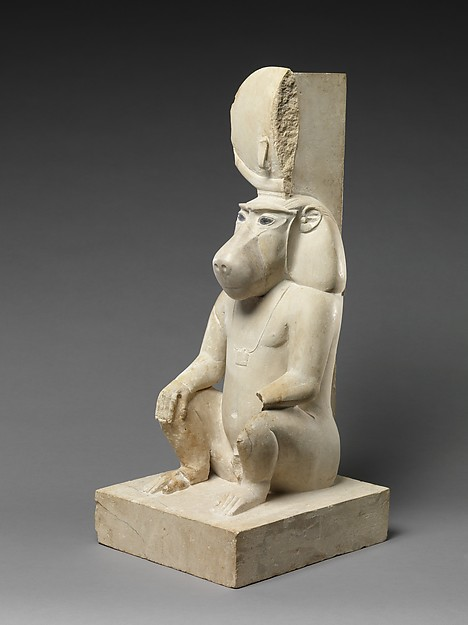 Statue of a seated baboon