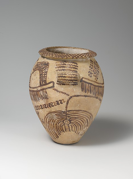 Decorated ware jar illustrating boats and trees