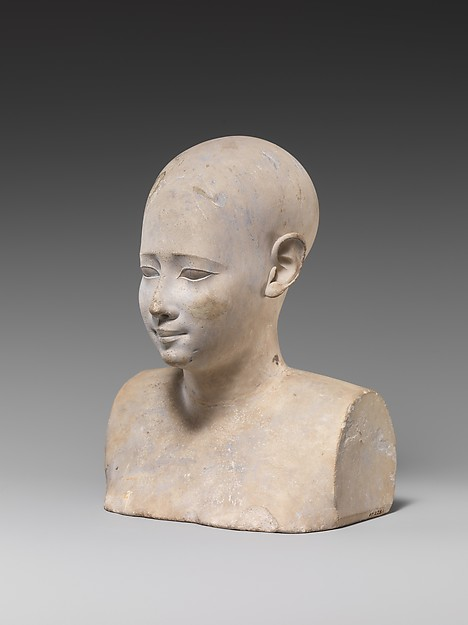 Bust of a bald or shaven man