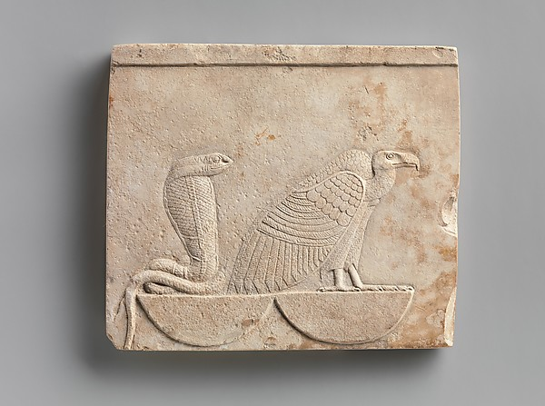 Relief  plaque with Vulture and Cobra on baskets; falcon on opposite