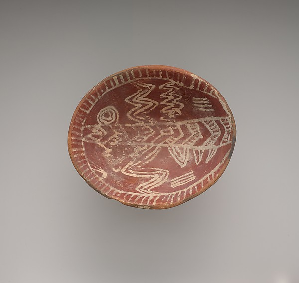 White cross-lined bowl with four legs