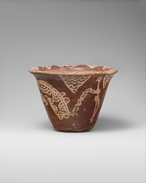 White cross-lined ware bowl illustrating a man harpooning a hippo