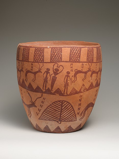 Deep bowl depicting people, animals, and plants