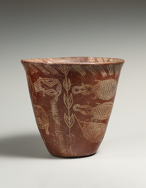 White cross-lined ware beaker with Nile River scene