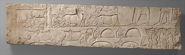 Relief Depicting a Man Inspecting His Stables and Ships Unloading Merchandise, from the Tomb of Meryneith at Saqqara