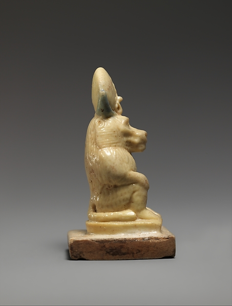 Amulet Depicting a Baboon Wearing a Lunar Disk and Uraeus