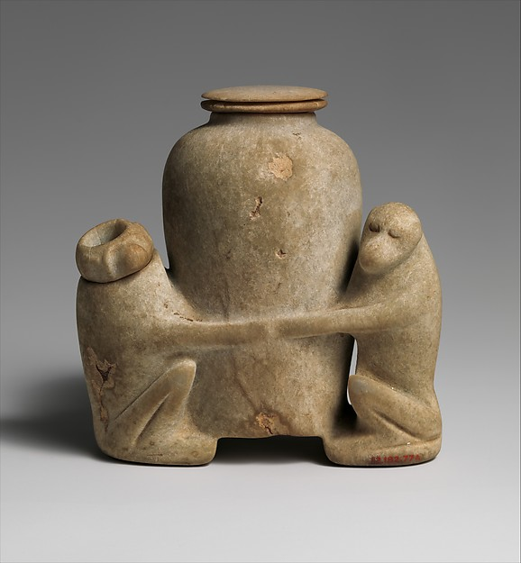 Ointment vessel in the shape of two baboons holding a jar
