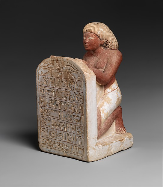 Statue of Roy Chanting the Solar Hymn Written on His Stela