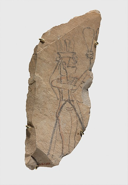 Ostracon Depicting a Queen Holding a Sistrum