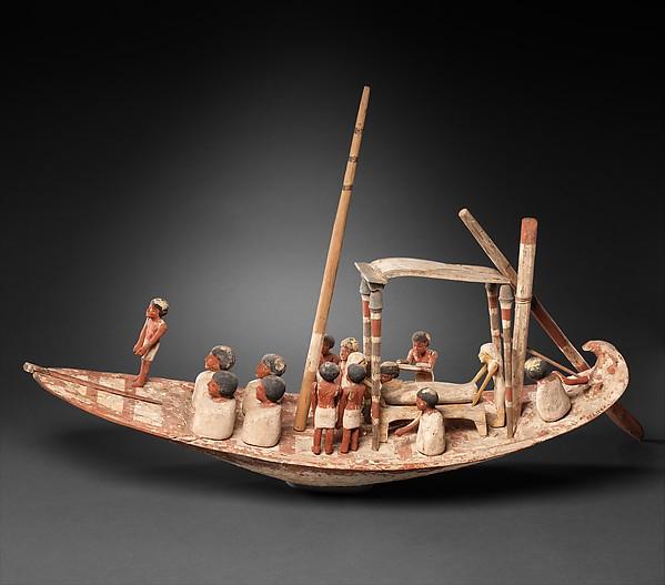 Model Sailing Boat Transporting a Mummy