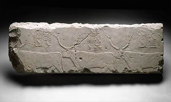Relief fragment with king Khufu's cattle