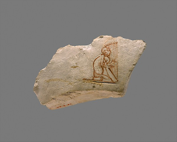 Ostracon with sketch of a harpist