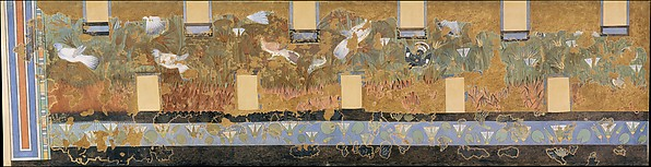 Facsimile painting from the 'Green Room' in the North Palace at Amarna