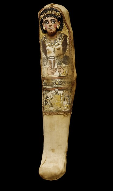 Mummy with a Painted Mask Depicting a Woman Holding a Goblet