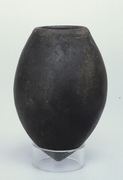 Black ware jar with pointed base