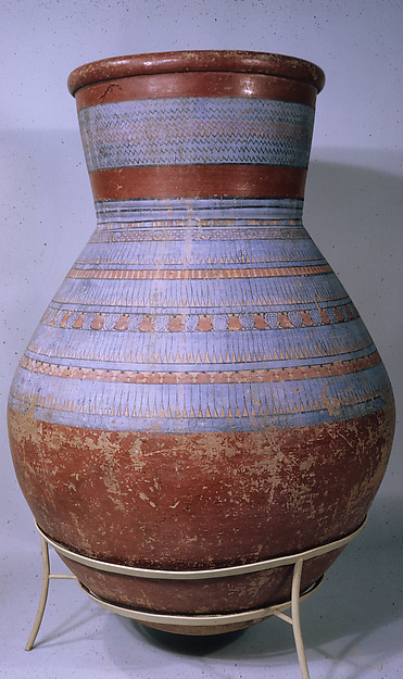 Blue-painted Storage jar