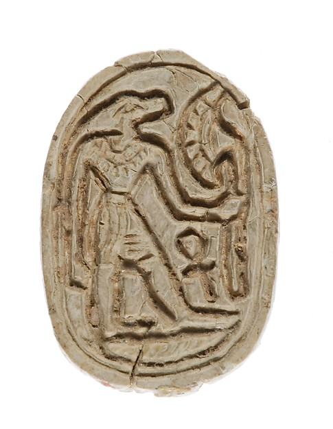 Canaanite Scarab with a Crocodile Headed Figure Holding a Flower