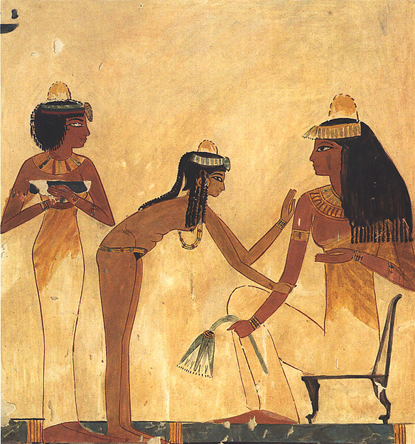 Seated woman with Two Female Servants, Tomb of Djeserkareseneb