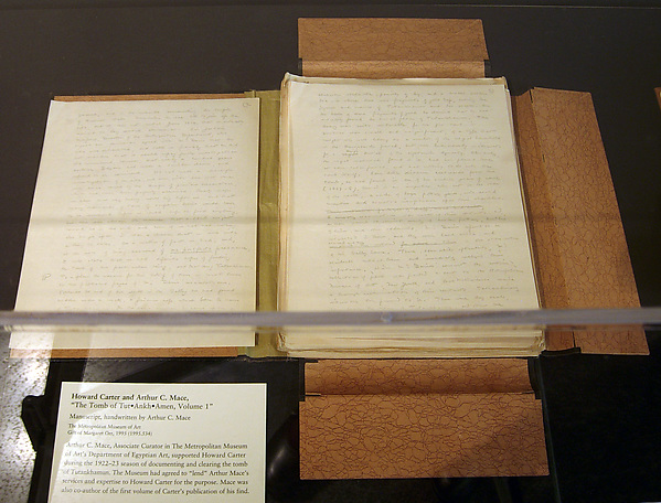"Handwritten copy of ""The Tomb of Tutankhamen"", Vol. I, by Howard Carter and Arthur C. Mace"