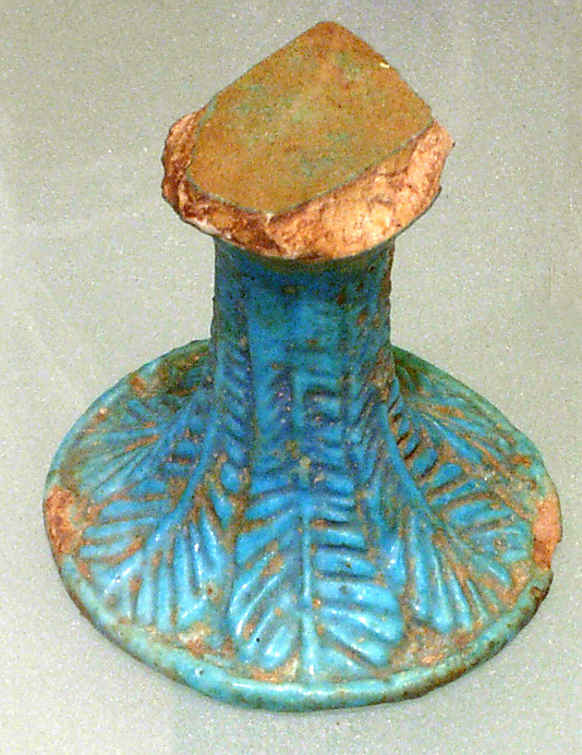 Stem of lotiform goblet with palm fronds in relief